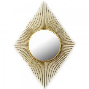 Μεταλλικός καθρέφτης σε σχήμα ρόμβου σε χρυσό χρώμα 65x95 εκ
