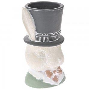 Κεραμικό κασπώ κεφάλι λαγού με μαύρο καπέλο σετ των δύο τεμαχίων 14x23 εκ
