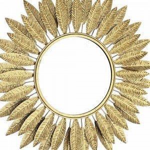 Boho μεταλλικός καθρέπτης με φύλλα σε χρυσό χρώμα 60 εκ