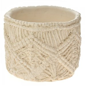 Boho κεραμικό κασπώ σε κρεμ απόχρωση με σχέδιο πλέξη σετ των έξι τεμαχίων 12x10 εκ