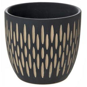 Ethnic κεραμικό μαύρο κασπώ με σκαλιστά σχέδια σετ των δύο 17x15 εκ