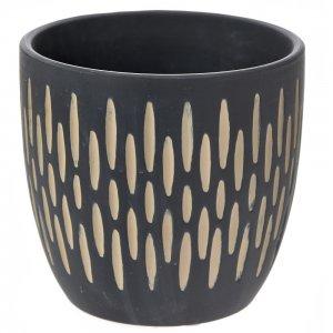 Ethnic κεραμικό μαύρο κασπώ με σκαλιστά σχέδια σετ των τεσσάρων 14x13 εκ