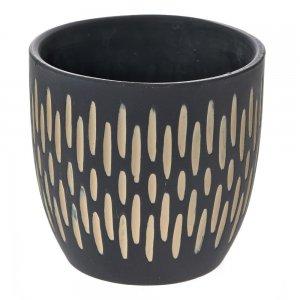 Ethnic κεραμικό μαύρο κασπώ με σκαλιστά σχέδια σετ των έξι 11x10 εκ