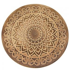 Έθνικ ξύλινος δίσκος με σχέδια σε καφέ απόχρωση σετ των δύο 40x3 εκ