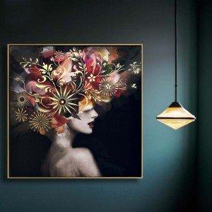 Retro πίνακας ζωγραφικής γυναίκα με λουλούδια σε χρυσή κορνίζα 82x82 εκ