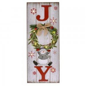 Διακοσμητική ξύλινη κρεμαστή πινακίδα κορμός joy και φως 20x4x50 εκ