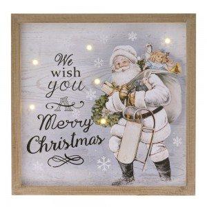 Διακοσμητική ξύλινη κρεμαστή πινακίδα κορμός Άγιος Βασίλης και φως 24x4x24 εκ