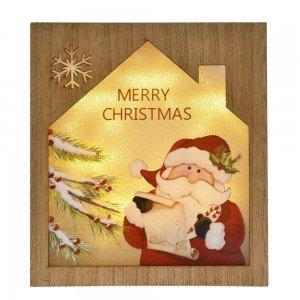 Διακοσμητική ξύλινη κρεμαστή χριστουγεννιάτικη πινακίδα με τον Άγιο Βασίλη με led φωτάκια 18x4x20 εκ