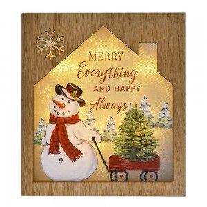 Διακοσμητικη ξύλινη χριστουγεννιάτικη πινακίδα χιονάνθρωπος με φως 18x4x20 εκ