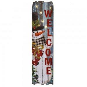 Ξύλινη κρεμαστή διακοσμητική πινακίδα με χιονάνθρωπο και φωτάκια στο εσωτερικό 23x2x90 εκ