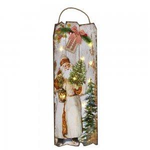Διακοσμητικη ξύλινη πινακίδα Άγιος Βασίλης και με φως 54x2x24 εκ