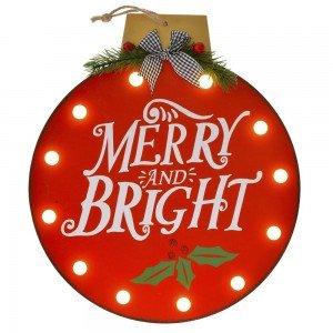 Διακοσμητική χριστουγεννιάτικη ξύλινη πινακίδα κόκκινη μπάλα με φως 29x3x32 εκ