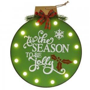 Διακοσμητική χριστουγεννιάτικη ξύλινη πινακίδα πράσινη μπάλα με φως 29x3x32 εκ