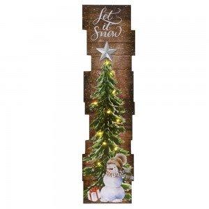 Ξύλινη κρεμαστή διακοσμητική χριστουγεννιάτικη πινακίδα με δέντρο με led φωτάκια 23x2x92 εκ
