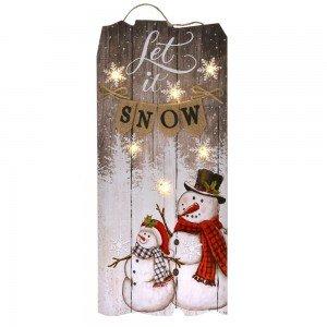Ξύλινη διακοσμητική χριστουγεννιάτικη πινακίδα let it snow και με χιονάνθρωπους με  led φωτάκια 22x2x50 εκ
