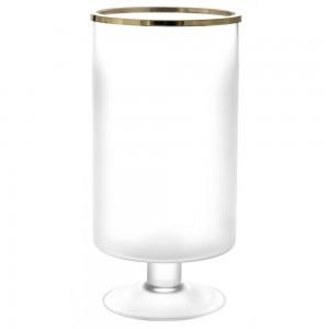 Γυάλινο βάζο ημιδιάφανο με χρυσό τελείωμα 13x16x30 εκ