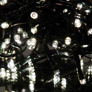 100 LED Εξωτερικού χώρου IP44 με 8 προγράμματα φωτισμού  πράσινο καλώδιο - soft white φως 4m G/M