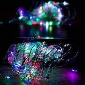 100 Led αδιάβροχα εναλλασσόμενου φωτισμού  RGB με ασημί καλώδιο χαλκού 10 μέτρα