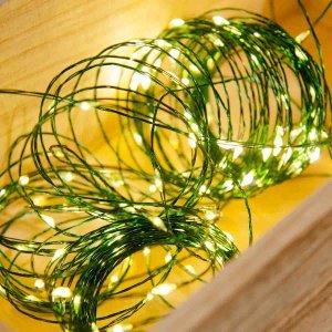 200 LED λαμπάκια warm white αδιάβροχα με πράσινο καλώδιο χαλκού 20μ