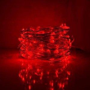 100 Led αδιάβροχα μπαταρίας ή ρεύματος με χρονοδιακόπτη κόκκινο με ασημί χάλκινο καλώδιο 10 μέτρα