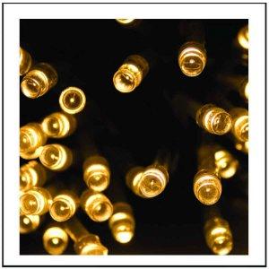 100 LED IP44 Λαμπάκια εξωτερικού χώρου με μετασχηματιστή επεκτεινόμενα πράσινο καλώδιο και θερμό λευκό φως 5 μ