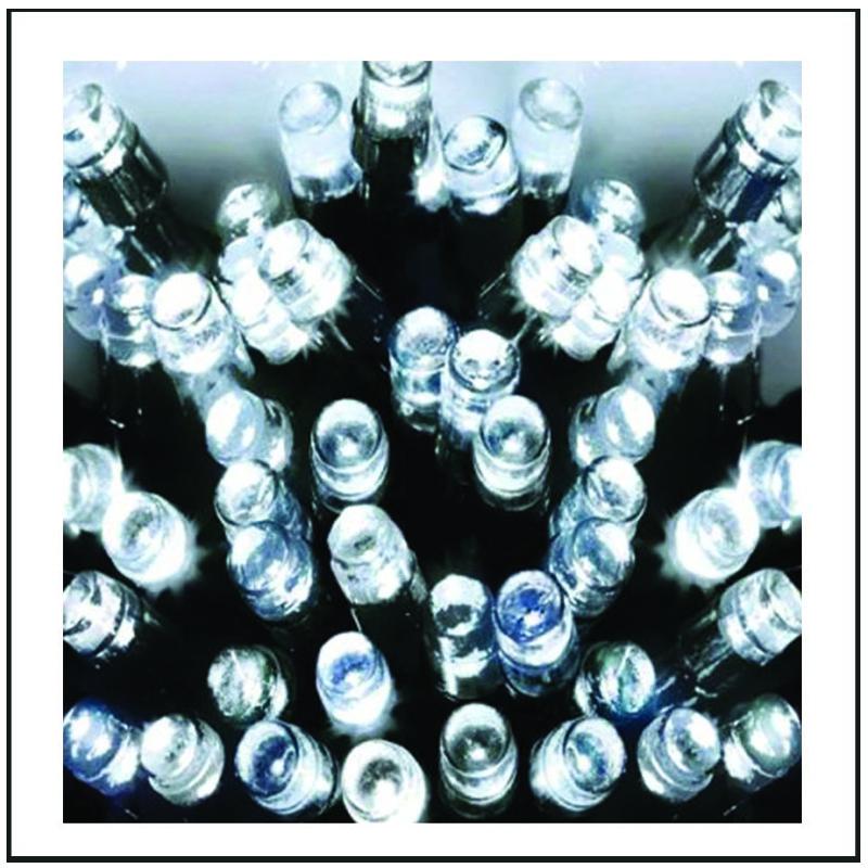 100 LED Λαμπάκια επεκτεινόμενα διάφανο καλώδιο. - λευκό ψυχρό φως 5,5m