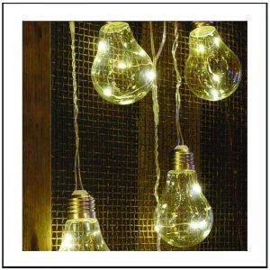 24 LED σε 6 Vintage Λάμπες μπαταρίας και ρεύματος 3 μέτρα