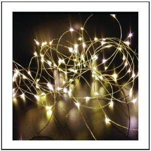40 Φωτάκια Μπαταρίας led με καλώδιο χαλκού 4 μέτρα Soft White Λευκό w/sw