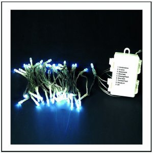 50 Led Μπαταρίας με 8 προγράμματα φωτισμού και χρονοδιακόπτη - Cool White - Διάφανο καλώδιο 375cm