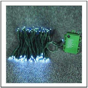 100 Led Μπαταρίας με 8 προγράμματα φωτισμού και χρονοδιακόπτη - Cool White - Πράσινο καλώδιο 750cm