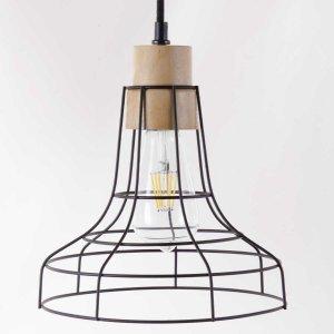 Minimal κρεμαστό φωτιστικό από μέταλλο και ξύλο 23x25 εκ