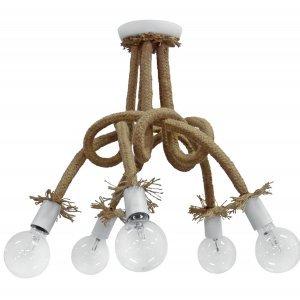 Φωτιστικό οροφής με φυσικό σχοινί και πλέξη πεντάφωτ
