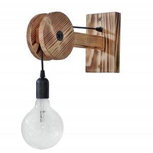 Επιτοίχιο φωτιστικό ξύλινο με τροχαλία μονόφωτο