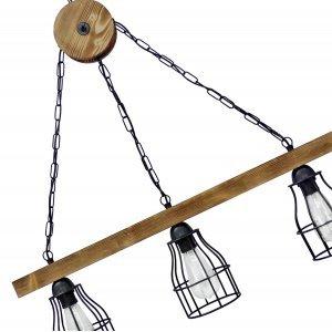 Φωτιστικό οροφής κρεμαστό με ξύλινη ράγα και κώνου&sigma