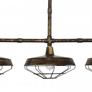 Φωτιστικό οροφής industrial τρίφωτο με κώνους απο πλέγμα μ&epsilon