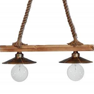 Φωτιστικό οροφής κρεμαστο με φυσικό σχοινί και ξύ&lam