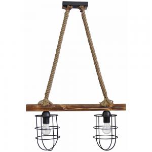 Κρεμαστό φωτιστικό οροφής με ξύλινη ράγα και φυσικό