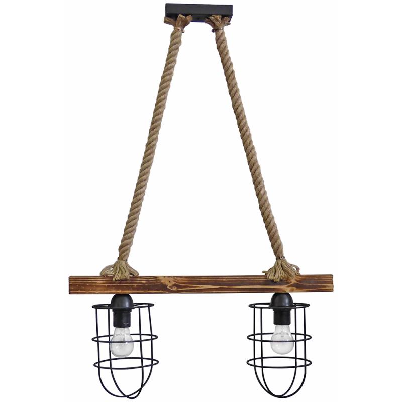 Κρεμαστό φωτιστικό οροφής με ξύλινη ράγα και φυσικό σχοινί δίφωτο