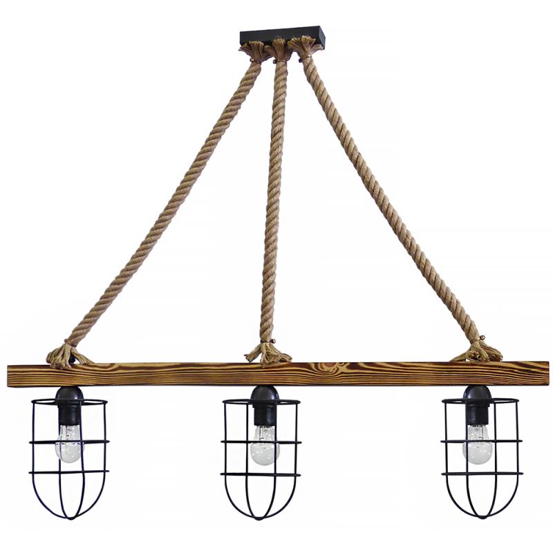 Τρίφωτο φωτιστικό οροφής με ξύλινη ράγα και μεταλλικά κλουβιά