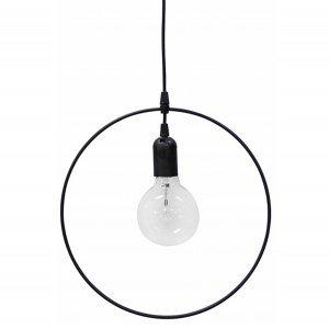 Φωτιστικό οροφής με μαύρο μεταλλικό κύκλο μονόφωτ&o