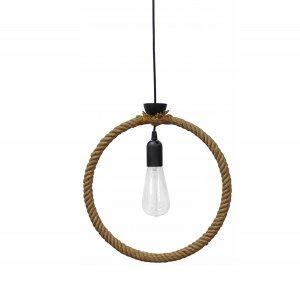 Φωτιστικό οροφής με κύκλο από φυσικό σχοινί μονόφωτ&om