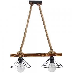 Δίφωτο φωτιστικό οροφής με ξύλινη ράγα και μεταλλι