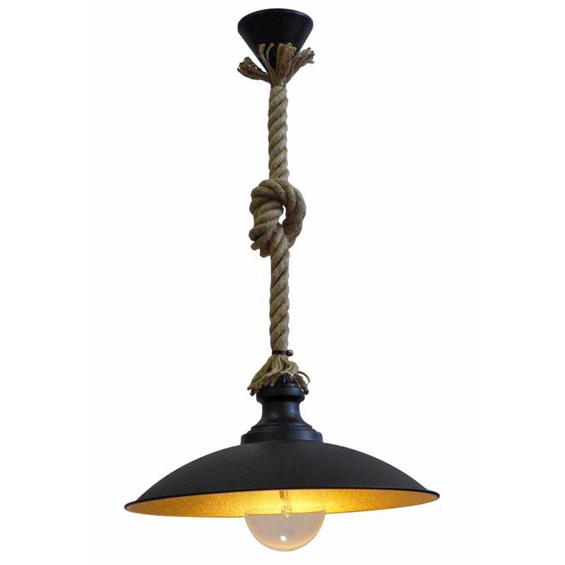 Φωτιστικό μεταλλικό οροφής σε μαύρο και χρυσό μονόφωτο με φυσικό σχοινί