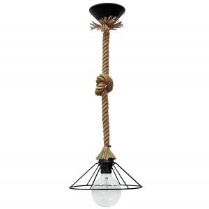 Φωτιστικό οροφής με φυσικό σχοινί και κόμπο με κώνο από μεταλλικό πλέγμα κοντό μονό