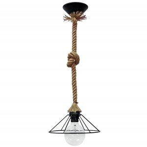 Φωτιστικό οροφής με φυσικό σχοινί και κόμπο με κώνο &