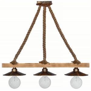 Φωτιστικό οροφής με φυσικό σχοινί και ξύλινη ράγα τρίφωτο
