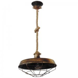 Φωτιστικό οροφής με φυσικό σχοινί με κόμπο και μπρο&
