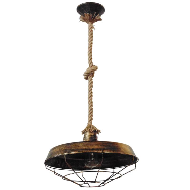 Φωτιστικό οροφής με φυσικό σχοινί με κόμπο και μπρονζέ καπέλο μονόφωτο