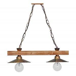 Φωτιστικό οροφής με ξύλινη ράγα και μεταλλικούς κώ&