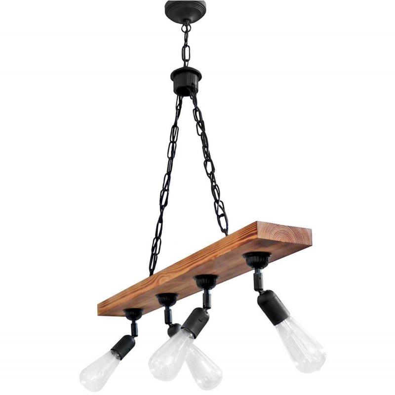 Φωτιστικό οροφής με ξύλινη ράγα και σπαστά ντουί τετράφωτο